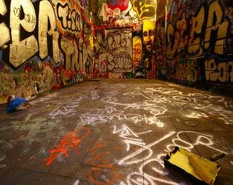 graffiti wall Backdrop - scary graffiti room, halloween - Printed Fabric Photography Background W1259