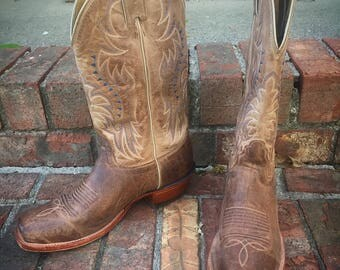 Nocona brand mens brisby tan leather cowboy boots