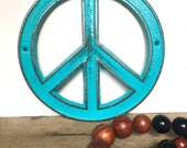 Turquoise Peace Sign - Bohemian Decor - Hippie Wall Art - Retro Decor - Peace Sign Decor - Bohemian Art - Turquoise Wall Decor - Retro Signs