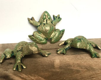 cast iron frog decor green gold pick color garden frog statue yard
