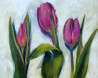 purple tulips // tulip painting // tulip art // purple flowers // purple flower painting // purple flower art // fine art // original art