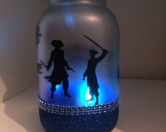 Pirate light jar, blue pirate jar, colour changing pirate jar, pirate light