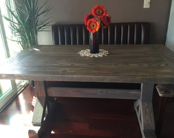 Farmhouse Dining Table, trestle table,  solid wood, handmade