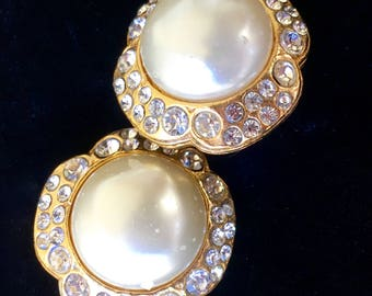 Vintage 1970's CHANEL Earrings! Pearl Pave Crystal Camellia or Clover with rhinestones