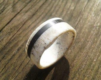 Deer Antler Ring with Ebony Wood, Wedding Ring, Engagement Ring, Deer Antler Ring, Mens Ring, Bone Ring