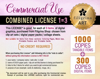 Combined COMMERCIAL LICENSE. Up to 1000/tangible + 300/digital copies for each of 3 listings / clip art, digital paper, collage sheets