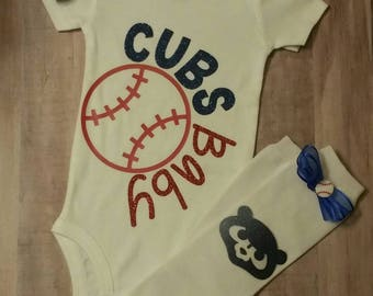 Cubs Baby Onesie/Baseball Fan/ Baseball/Baby Girl cubs Clothes/ chicago cubs Clothes/Birthday/ Baby Shower Gift/Leg Warmers/BaseballHair Bow