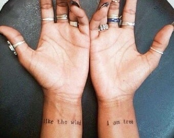 Like The Wind, I Am Free - Temporary Tattoos // Quote Series // Inspirational // Tumblr Style // Life Quotes