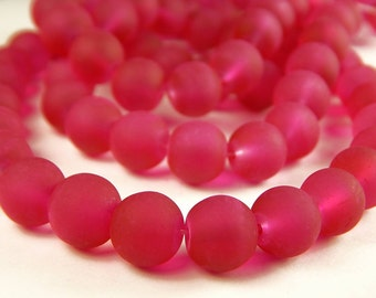 15 Inch Strand - 10mm Round Transparent Violet Red Frosted Glass Beads - Sea Glass Beads - Jewelry Supplies