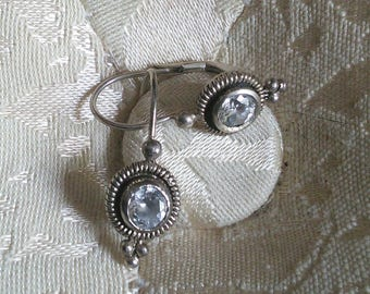 Sterling and Cubic Zirconia lever back drop earrings // dormeuse style, sterling, cubic zirconia, 1990's