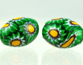 Rare Vintage Venetian Green Millefiori Beads in Excellent Condition - Oval or Square Millefiori - Qty 1