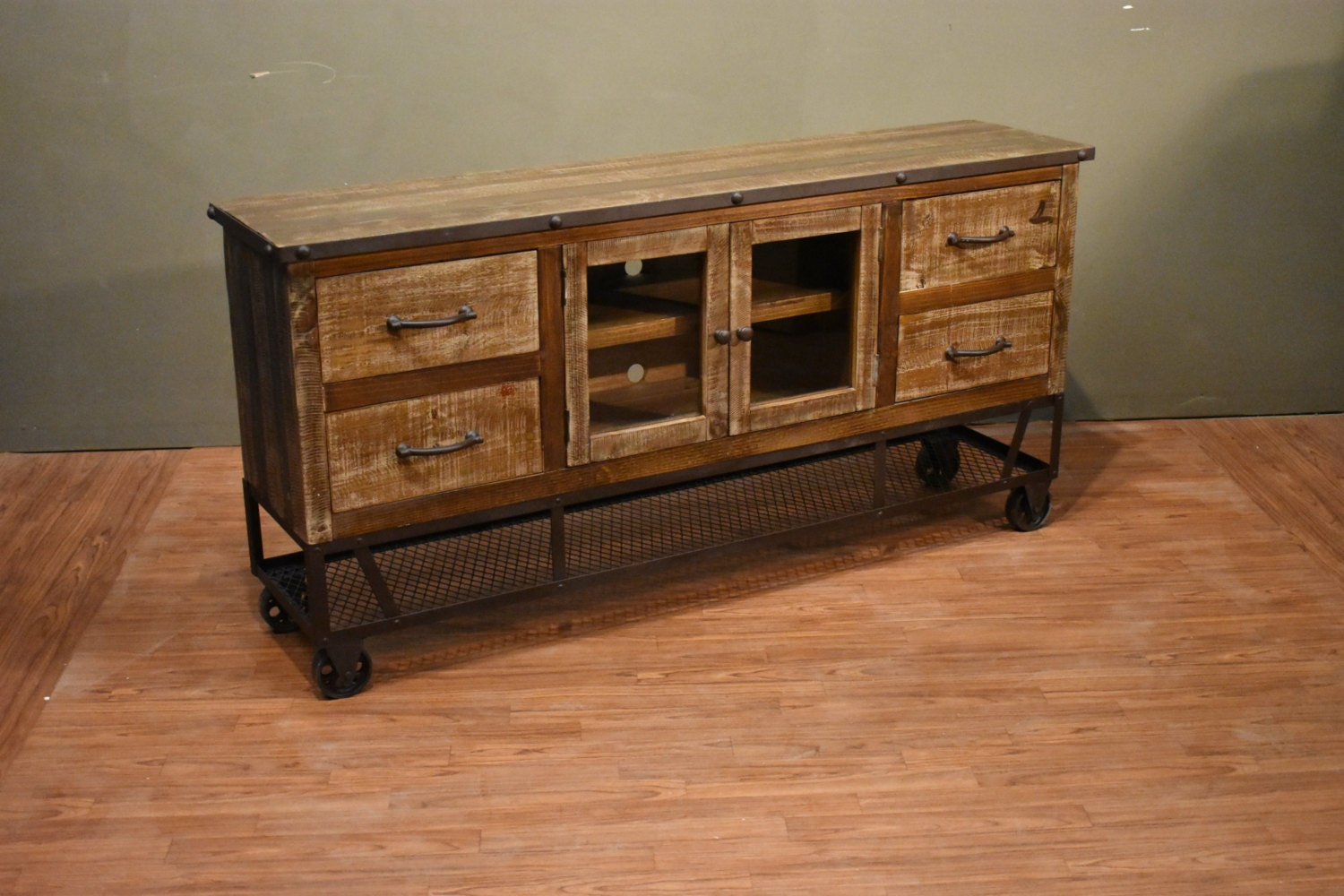 Industrial Rustic Reclaimed Wood 65 Inch Tv Stand Media