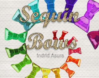 84 Sequin Glitter Bows | Clip Art Rainbow Muticolor Gold Silver Red Green Blue Purple Yellow Pink Color