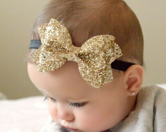 Gold Glitter Bow // 4 sizes // headband or clip // customizable elastic color