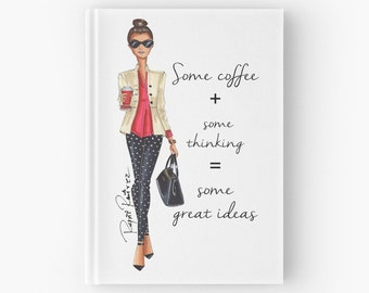 "Hardcover  notebook ""Brunette coffee"" Diary, annotations, fashion notebook."