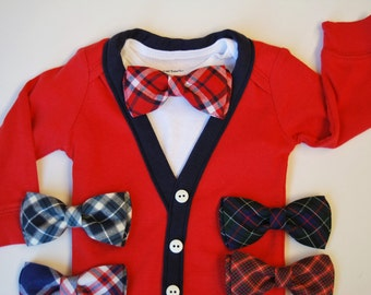 SALE- Red Cardigan Onesie and Bow Tie Set