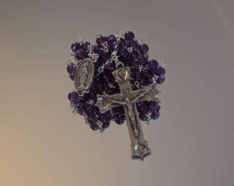 Amethyst Miraculous Medal Rosary, Rosaries, Rosary, Miraculous Medal, Handmade