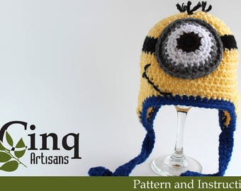 Underling Character Inspired Hat with Ear Flaps Pattern