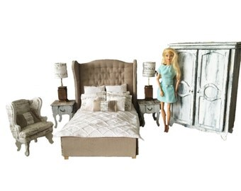 MiniMolly Dollhouse Furniture, Barbie Size 1:6 Deluxe Bedroom Set,French Provincial Style , Bed Wardrobe ArmChair Side Tables Lamps Bedding