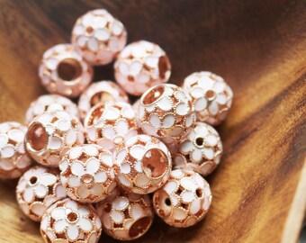 set of 2, cherry blossom beads, rose gold beads, sakura beads, hollow beads, enamel beads, big hole beads, 13mm x 11mm