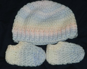 Hand knitted Crochet baby girl boy booties and hat set Baby boy Hat and Booties crocheted set newborn gift set 0 to 6 months ready to ship