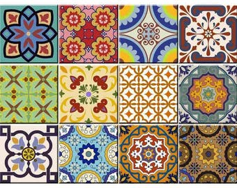 Set of 24 vintage traditional mexican tiles decals bathroom - Stickers imitation carrelage ...