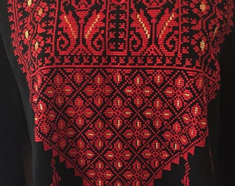 Black Top with Red and Gold Palestinian Cross Stitch / Embroidery