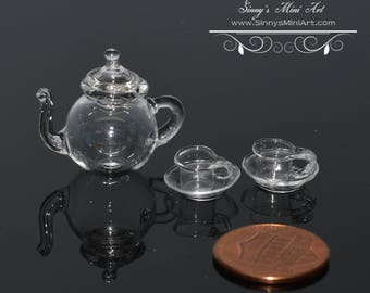 1:12 Dollhouse Miniature Glass Teapot with Lid and Two Cups with Two Saucers BD HB160