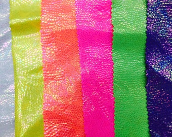 """NEW MULTICOLOR Neon Scales on Spandex, 60"""" inch, sold by the yard"""