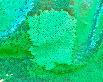 """Neon Mint Green Shiny/Matte 5mm Flip Up Sequin on Mesh, 54"""" inch, sold by the yard"""