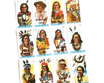 12 x American Indian Day Davaar Island 1984 Postage Stamps - Dakota Sioux Apache - Headdress - for crafts, mail art, collecting, journalling