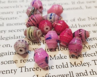 10 Pink Paper Beads / Hand Rolled Paper Beads / Oval Beads / Recycled Paper Beads / African Multi Colored Beads / 10 mm / BE20