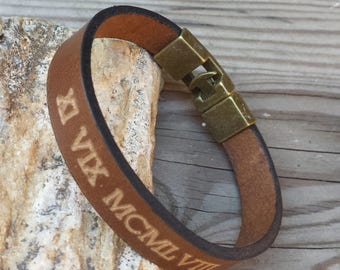 FREE SHIPPING-Bracelet for Men, Roman Numerals Bracelet, Engraved Men Bracelet, Personalized Leather Bracelet, Custom Men Leather Bracelet