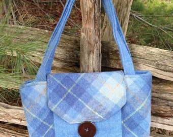 Harris Tweed Classic Blue Plaid Shoulder Tote  Bag