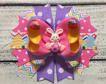 Easter Hair Bow,Easter hairbow,Easter Bunny Hair Bow , Easter Boutique Hair Bow , Easter Eggs Boutique Hair Bow , Easter Outfit