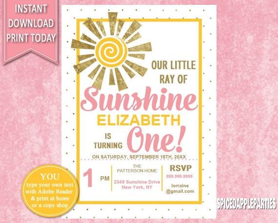 First birthday birthday invitation 1st birthday ray of sunshine il570xn stopboris Images