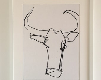 Abstract Cow in Charcoal by Adam Slatter