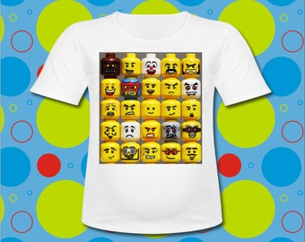 Many Lego Faces T Shirt all SIZES available Lego Fest Lego T Shirt
