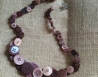 Brown button necklace