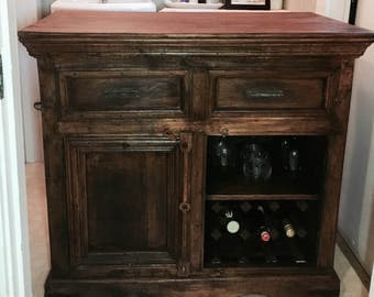 SOLD - Buffet, wine rack, solid wood, credenza, side board