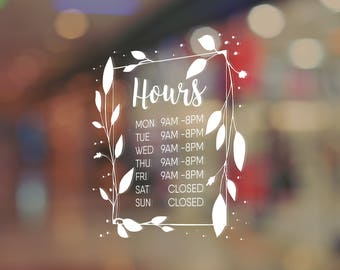 Store Hours Decal Business Hours Decals Free Shipping - Window stickers for business hours