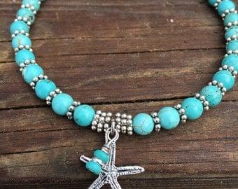 Beach Anklet, Starfish Anklet, Ankle Bracelet, Ankle Jewelry, Beach Jewelry, Beaded Anklet, Turquoise Anklet, Anklet