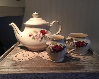 Sadler Rose Tea Set, 4-Piece, Antique Rose, 5 cup tea pot, creamer, sugar, Vintage Tea Set, Shabby Tea, Tea Party, Wedding Tea, Tea Maker