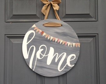 Round home front door hanging sign, front porch front door decor, housewarming gift, hand painted wood home sign