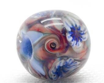 Artisan Beads - Lampwork Focal Bead - Glass Beads - Lampwork Beads - Glass Bead Jewelry - Flower Jewelry - Big hole beads - Glass Charm Bead
