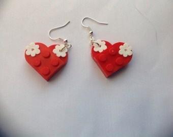 Lego Love Heart Earrings