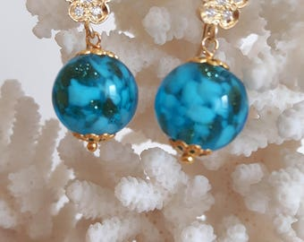 Pearl Murano glass earrings and silver flowers with zircons, turquoise earrings