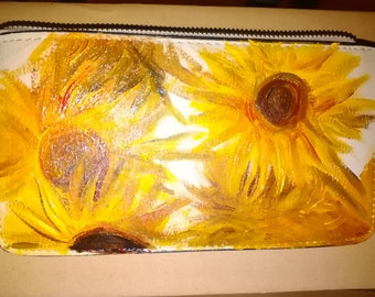 "Wallets with ""vase with sunflowers"" by Van Gogh, hand painted"
