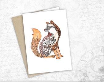 red fox autumn card watercolor art colorful print Animal lovers fox gift card  for Friend birthday card Animal art fox greeting postcard
