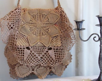 Shoulder Bag Shabby Layered Doilies Flap Over Taupe R6-13